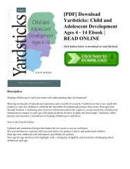 [PDF] Download Yardsticks: Child and Adolescent Development Ages 4 - 14 Ebook   READ ONLINE