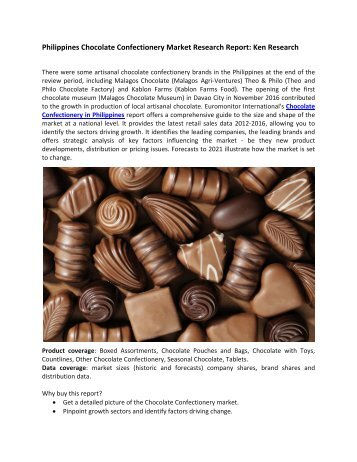 Philippines Chocolate Confectionery Market Forecast, Market Revenue-Ken Research