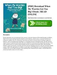 [PDF] Download When My Worries Get Too Big! Ebook   READ ONLINE