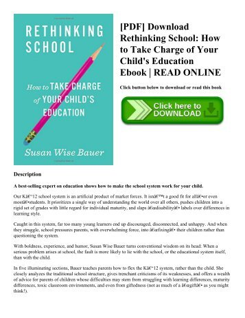 [PDF] Download Rethinking School: How to Take Charge of Your Child's Education Ebook | READ ONLINE