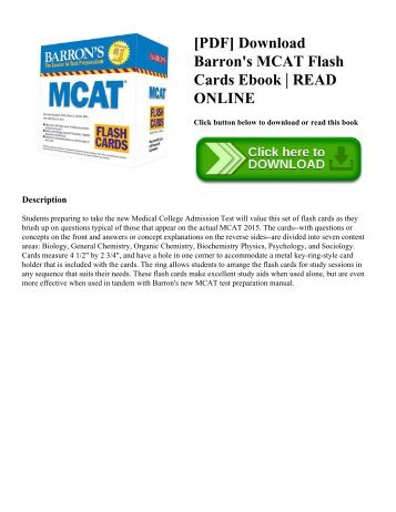 [PDF] Download Barron's MCAT Flash Cards Ebook | READ ONLINE
