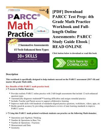 [PDF] Download PARCC Test Prep: 4th Grade Math Practice Workbook and Full-length Online Assessments: PARCC Study Guide Ebook | READ ONLINE