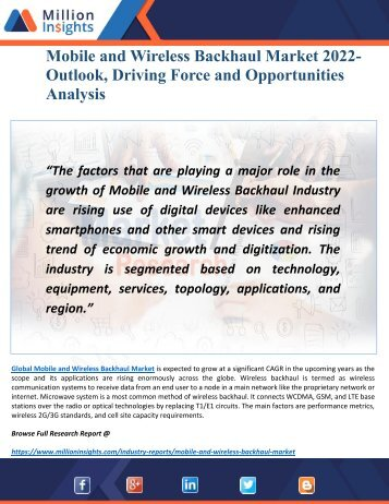 Mobile and wireless backhaul Market 2022 by Opportunities, Geography Analysis