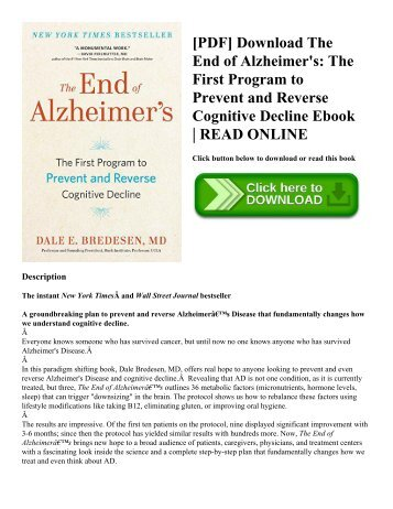 [PDF] Download The End of Alzheimer's: The First Program to Prevent and Reverse Cognitive Decline Ebook | READ ONLINE