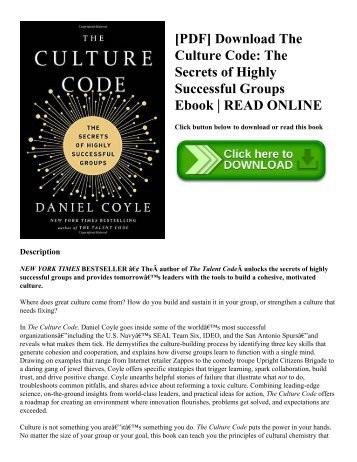 [PDF] Download The Culture Code: The Secrets of Highly Successful Groups Ebook | READ ONLINE