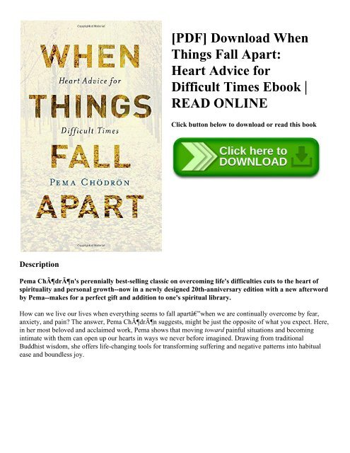 Pdf Download When Things Fall Apart Heart Advice For Difficult