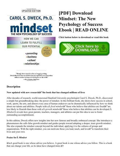 PDF] Download Mindset: The New Psychology of Success Ebook