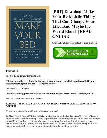 [PDF] Download Make Your Bed: Little Things That Can Change Your Life...And Maybe the World Ebook   READ ONLINE