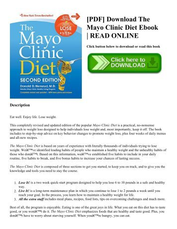 [PDF] Download The Mayo Clinic Diet Ebook | READ ONLINE
