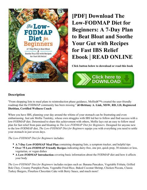 PDF] Download The Low-FODMAP Diet for Beginners: A 7-Day