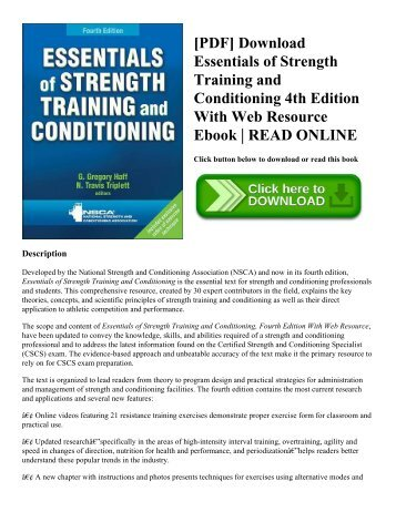 [PDF] Download Essentials of Strength Training and Conditioning 4th Edition With Web Resource Ebook | READ ONLINE