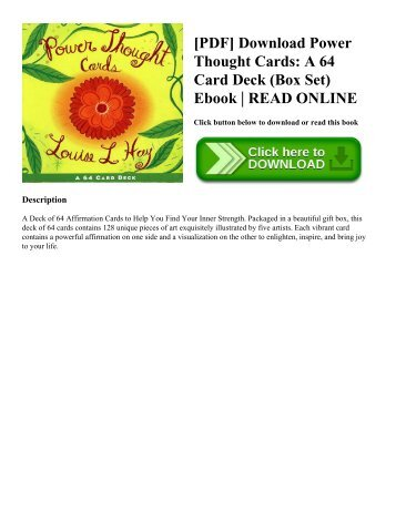 [PDF] Download Power Thought Cards: A 64 Card Deck (Box Set) Ebook | READ ONLINE
