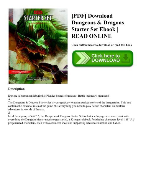 Dungeons & Dragons Starter Set Pdf