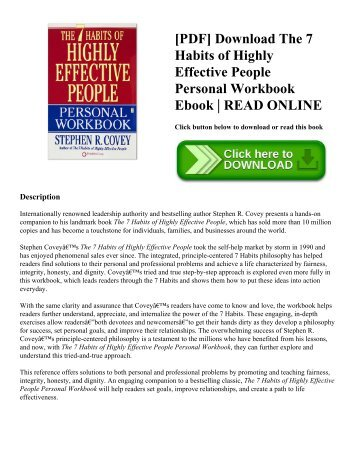 [PDF] Download The 7 Habits of Highly Effective People Personal Workbook Ebook | READ ONLINE