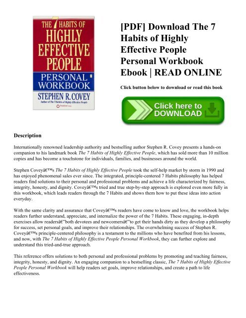 Pdf Download The 7 Habits Of Highly Effective People Personal