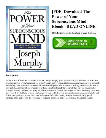 [PDF] Download The Power of Your Subconscious Mind Ebook | READ ONLINE
