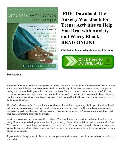 Pdf Download The Anxiety Workbook For Teens Activities To Help You
