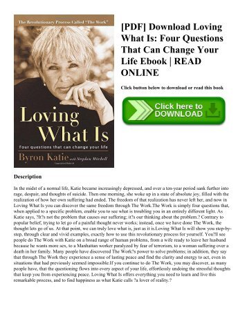 [PDF] Download Loving What Is: Four Questions That Can Change Your Life Ebook | READ ONLINE