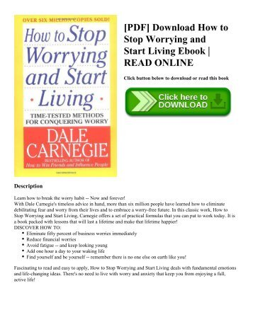 [PDF] Download How to Stop Worrying and Start Living Ebook | READ ONLINE