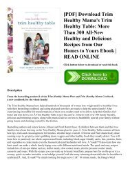 [PDF] Download Trim Healthy Mama's Trim Healthy Table: More Than 300 All-New Healthy and Delicious Recipes from Our Homes to Yours Ebook | READ ONLINE