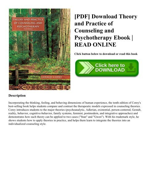 Pdf Download Theory And Practice Of Counseling And Psychotherapy
