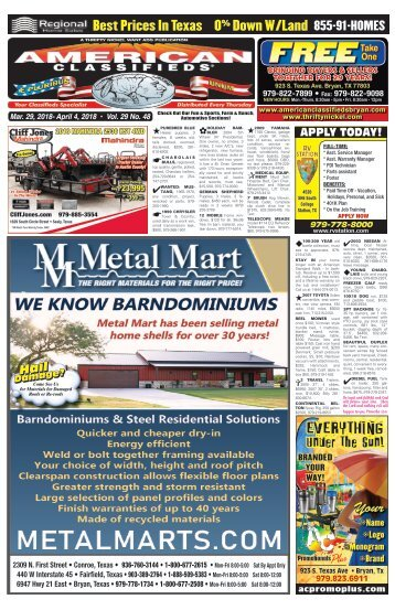 American Classifieds March 29th Edition Bryan/College Station