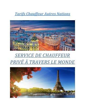Tarifs Chauffeur Autres Nations
