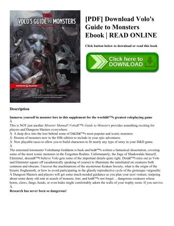 [PDF] Download Volo's Guide to Monsters Ebook | READ ONLINE