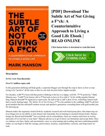 [PDF] Download The Subtle Art of Not Giving a F*ck: A Counterintuitive Approach to Living a Good Life Ebook | READ ONLINE