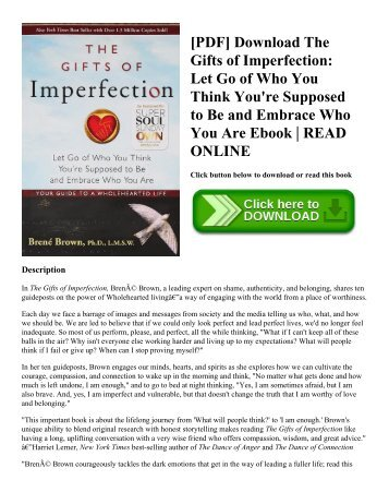 [PDF] Download The Gifts of Imperfection: Let Go of Who You Think You're Supposed to Be and Embrace Who You Are Ebook | READ ONLINE