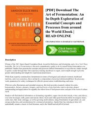 [PDF] Download The Art of Fermentation: An In-Depth Exploration of Essential Concepts and Processes from around the World Ebook | READ ONLINE