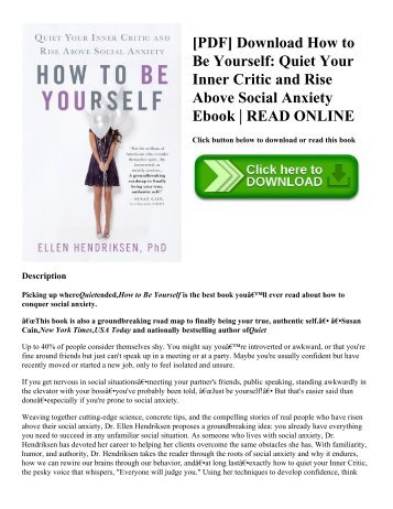 [PDF] Download How to Be Yourself: Quiet Your Inner Critic and Rise Above Social Anxiety Ebook | READ ONLINE