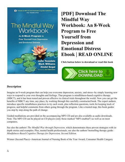 [PDF] Download The Mindful Way Workbook: An 8-Week Program to Free Yourself from Depression and Emotional Distress Ebook | READ ONLINE