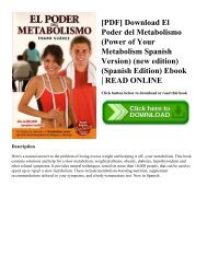 [PDF] Download El Poder del Metabolismo (Power of Your Metabolism Spanish Version) (new edition) (Spanish Edition) Ebook | READ ONLINE
