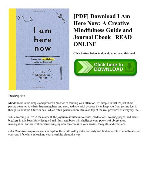 PDF] Download I Am Here Now: A Creative Mindfulness Guide and