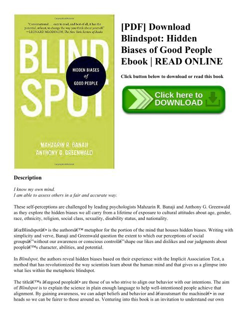 PDF] Download Blindspot: Hidden Biases of Good People Ebook | READ