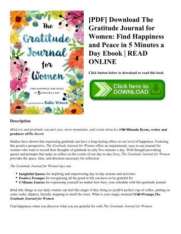 [PDF] Download The Gratitude Journal for Women: Find Happiness and Peace in 5 Minutes a Day Ebook | READ ONLINE