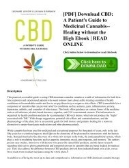 [PDF] Download CBD: A Patient's Guide to Medicinal Cannabis--Healing without the High Ebook | READ ONLINE