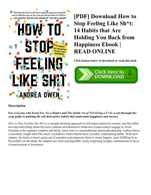 Pdf Download How To Stop Feeling Like Sh T 14 Habits That Are