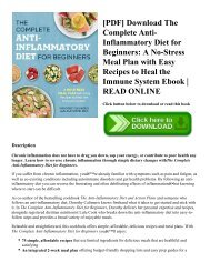 [PDF] Download The Complete Anti-Inflammatory Diet for Beginners: A No-Stress Meal Plan with Easy Recipes to Heal the Immune System Ebook   READ ONLINE