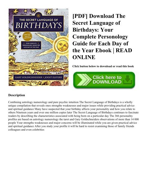 PDF] Download The Secret Language of Birthdays: Your Complete