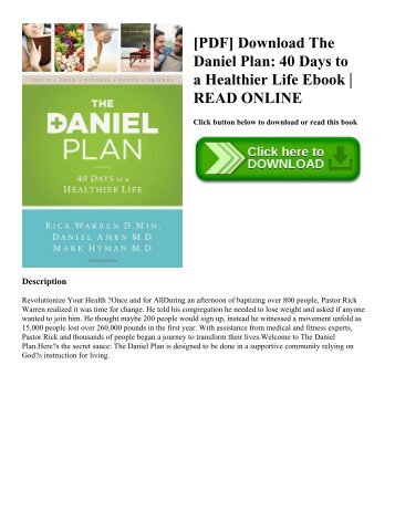 [PDF] Download The Daniel Plan: 40 Days to a Healthier Life Ebook | READ ONLINE