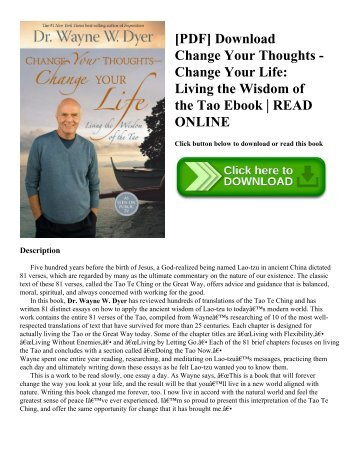 [PDF] Download Change Your Thoughts - Change Your Life: Living the Wisdom of the Tao Ebook | READ ONLINE