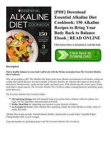 [PDF] Download Essential Alkaline Diet Cookbook: 150 Alkaline Recipes to Bring Your Body Back to Balance Ebook | READ ONLINE