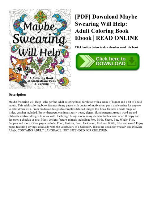 Pdf Download Maybe Swearing Will Help Adult Coloring Book Ebook