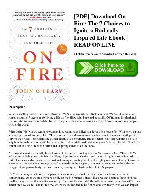 PDF] Download On Fire: The 7 Choices to Ignite a Radically Inspired