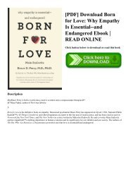 [PDF] Download Born for Love: Why Empathy Is Essential--and Endangered Ebook | READ ONLINE