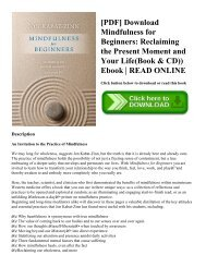 [PDF] Download Mindfulness for Beginners: Reclaiming the Present Moment and Your Life(Book & CD)) Ebook | READ ONLINE