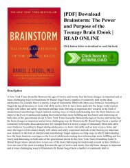 [PDF] Download Brainstorm: The Power and Purpose of the Teenage Brain Ebook | READ ONLINE