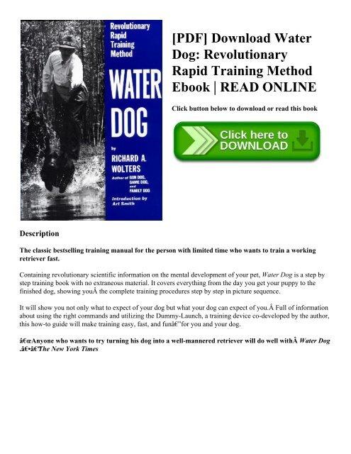 PDF] Download Water Dog: Revolutionary Rapid Training Method